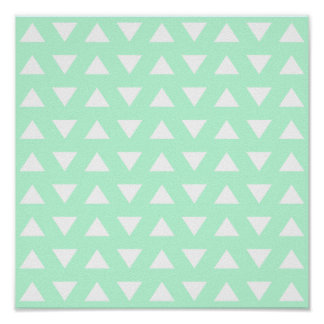 Mint Green and White Geometric Pattern. Poster