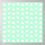 Mint Green and White Geometric Pattern. Print