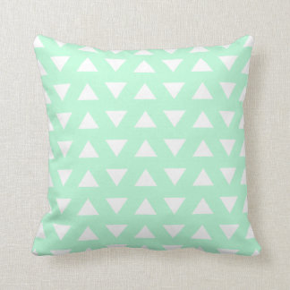 Mint Green and White Geometric Pattern. Throw Pillow