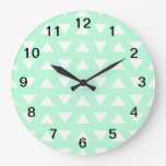Mint Green and White Geometric Pattern. Wall Clock