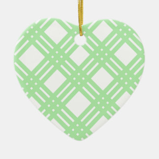 Mint Green and White Gingham Ceramic Heart Ornament