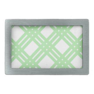 Mint Green and White Gingham Rectangular Belt Buckle
