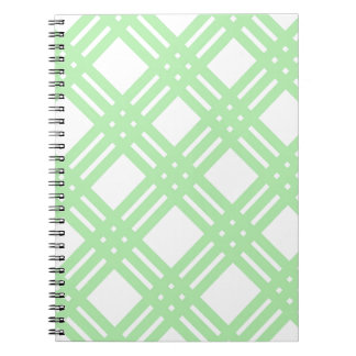 Mint Green and White Gingham Spiral Notebook