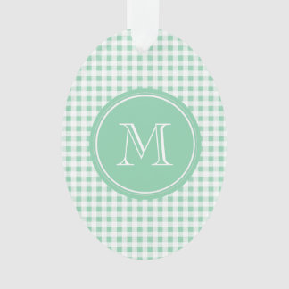 Mint Green and White Gingham, Your Monogram