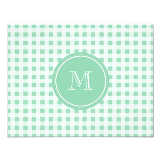 Mint Green and White Gingham, Your Monogram Card