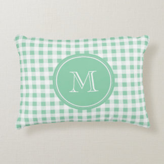 Mint Green and White Gingham, Your Monogram Decorative Pillow