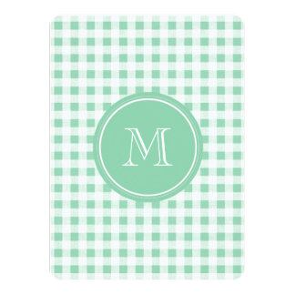 Mint Green and White Gingham, Your Monogram 5.5x7.5 Paper Invitation Card