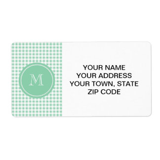 Mint Green and White Gingham, Your Monogram Label