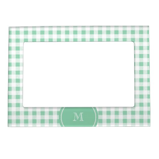 Mint Green and White Gingham, Your Monogram Picture Frame Magnet