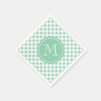 Mint Green and White Gingham, Your Monogram Paper Napkin