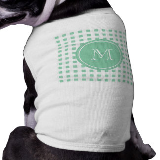 Mint Green and White Gingham, Your Monogram Tee
