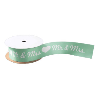 Mint Green And White Heart Mr. & Mrs. Wedding Satin Ribbon
