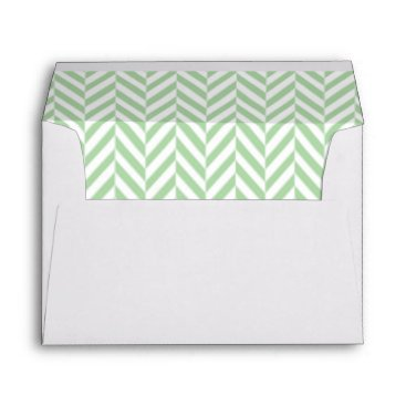 Professional Business Mint Green and White Herringbone Lined Envelopes