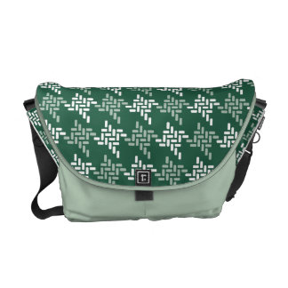 Mint Green And White Houndstooth Pattern Custom Commuter Bag