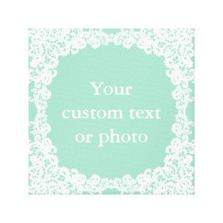 Mint green and white lace custom wrapped canvas