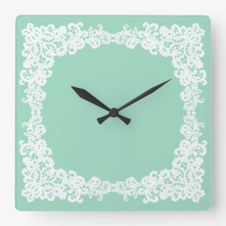 Mint green and white lace square clock