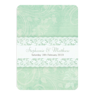 Mint green and white lace wedding invitation