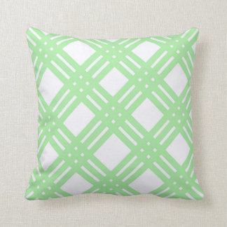 Mint Green and White Lattice Throw Pillow