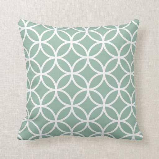 Mint Green And Brown Throw Pillows : Mint Green and White Modern Geometric Pattern Throw Pillow Zazzle
