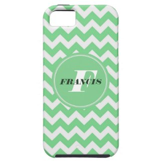 Mint-Green And White Monogram Chevron Pattern iPhone 5 Covers
