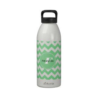 Mint-Green And White Monogram Chevron Pattern Drinking Bottles