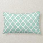Mint green and white Moroccan lumbar Throw Pillow