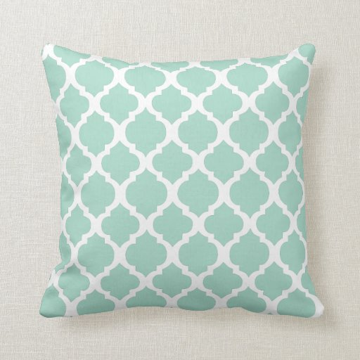 Mint green and white moroccan throw pillow zazzle for Green and white throw pillows