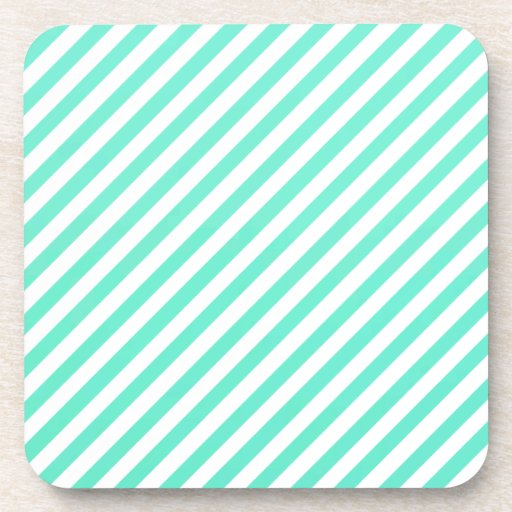 Mint Green And White Oblique Stripes Drink Coaster