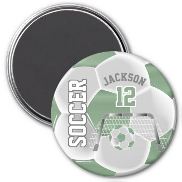 Professional Business Mint Green and White Personalize Soccer Ball Magnet