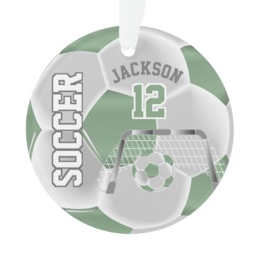 Professional Business Mint Green and White Personalize Soccer Ball Ornament