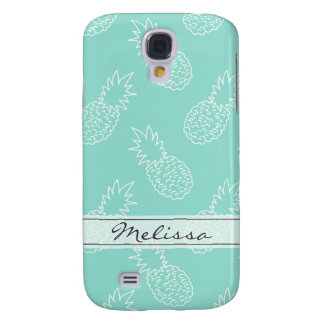 Mint Green and White Pineapple Pattern Samsung Galaxy S4 Cases