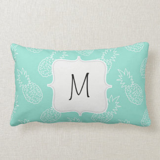 Mint Green and White Pineapple Pattern Throw Pillows