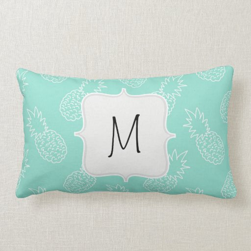 Mint green and white pineapple pattern throw pillows zazzle for Green and white throw pillows