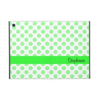 Mint Green and White Polka Dot Pattern iPad Mini Cover