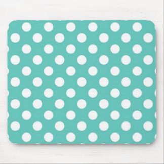 Mint green and white polka dot pattern. mouse pad