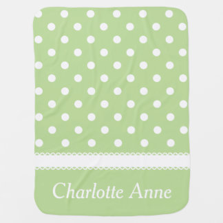 Mint Green and White Polka Dot Personalized Receiving Blanket