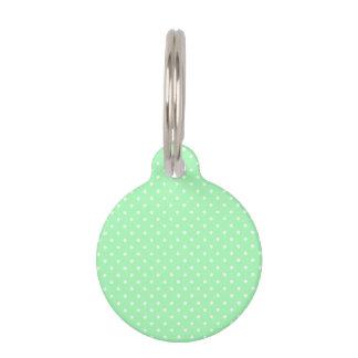 Mint Green and White Polka Dot Pet ID Tag