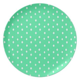 Mint Green And White Polka-Dot Plate