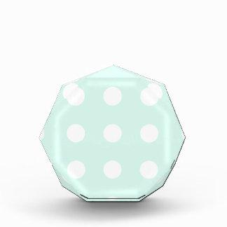 mint green and white polka dots acrylic award