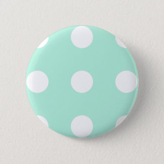 mint green and white polka dots button