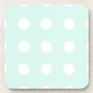 mint green and white polka dots drink coaster