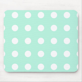 mint green and white polka dots mouse pad
