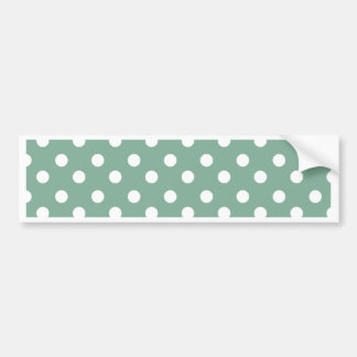 Mint Green and White Polka Dots Pattern Bumper Sticker