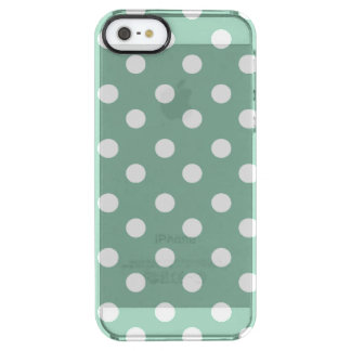 Mint Green and White Polka Dots Pattern Clear iPhone SE/5/5s Case