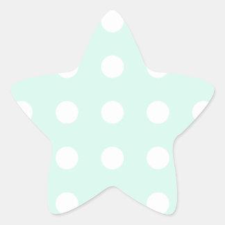 mint green and white polka dots star sticker