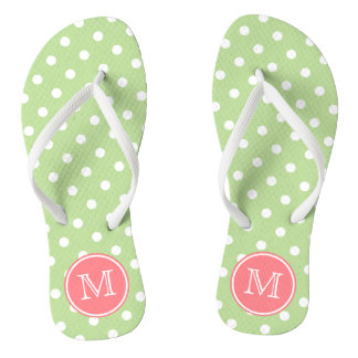 Mint Green and White Polka Dots with Coral Pink Flip Flops