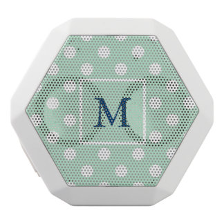 Mint Green and White Polka Dots with Monogram White Bluetooth Speaker