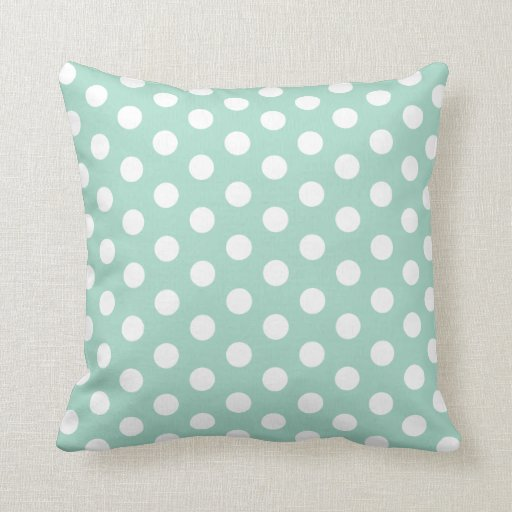 Mint Green And Brown Throw Pillows : Mint green and white Polkadot Throw Pillow Zazzle