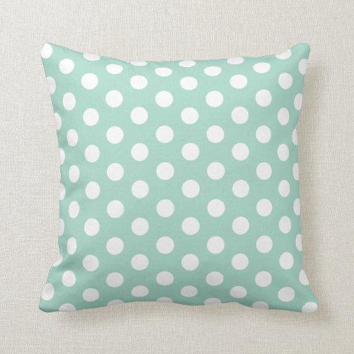 Mint green and white polkadot throw pillow zazzle for Green and white throw pillows