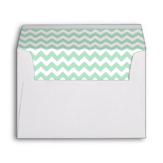 Mint Green and White Print Envelope
